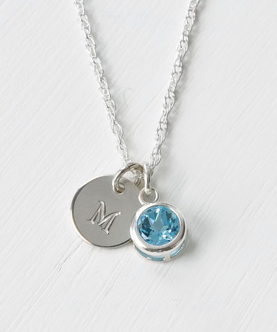 Sterling,Silver,Initial,Necklace,with,December,Birthstone,Blue,Topaz,sterling silver initial necklace with December birthstone blue topaz