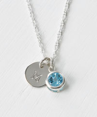 Sterling Silver Initial Necklace with December Birthstone Blue Topaz - product images 1 of 8