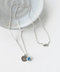 Sterling Silver Initial Necklace with December Birthstone Blue Topaz - product images 5 of 8