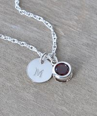 Sterling Silver Initial Necklace with January Birthstone Garnet - product images 4 of 9