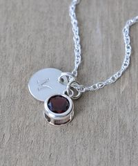 Sterling Silver Initial Necklace with January Birthstone Garnet - product images 3 of 9