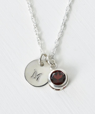 Sterling,Silver,Initial,Necklace,with,January,Birthstone,Garnet,sterling silver initial necklace with janaury birthstone