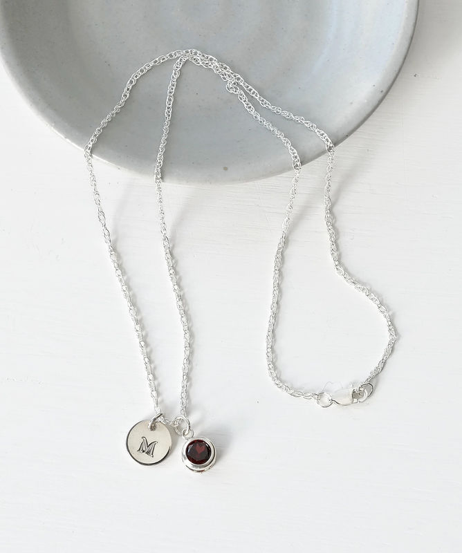 Sterling Silver Initial Necklace with January Birthstone Garnet - product image
