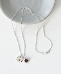 Sterling Silver Initial Necklace with January Birthstone Garnet - product images 6 of 9