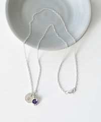 Sterling Silver Initial Necklace with February Birthstone Amethyst - product images  of