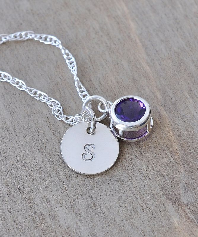 Sterling Silver Initial Necklace with February Birthstone Amethyst - product image
