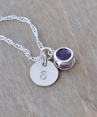 Sterling Silver Initial Necklace with February Birthstone Amethyst - product images 3 of 8