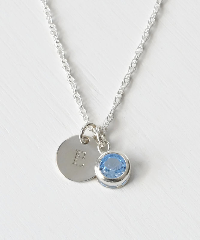 Sterling Silver Initial Necklace with March Birthstone  - product image