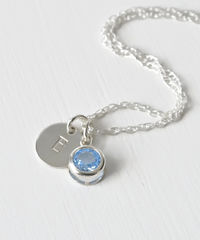 Sterling Silver Initial Necklace with March Birthstone  - product images 2 of 8