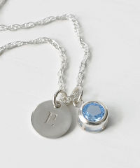 Sterling Silver Initial Necklace with March Birthstone  - product images 3 of 8
