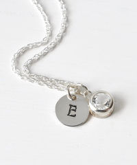Sterling Silver Initial Necklace with April Birthstone  - product images 2 of 8