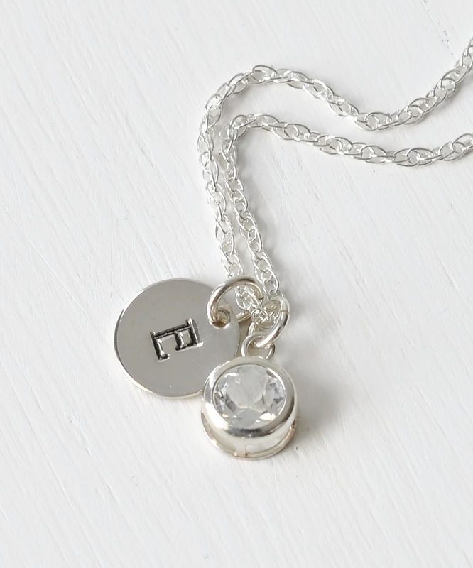 Sterling Silver Initial Necklace with April Birthstone  - product image