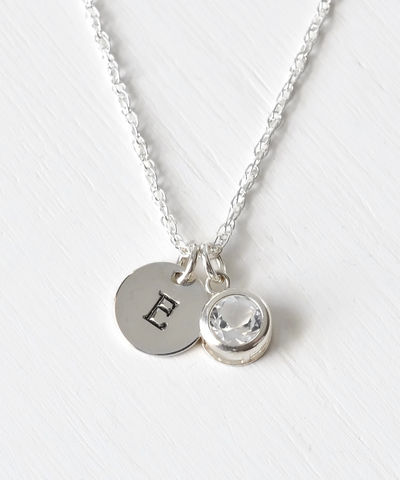 Sterling,Silver,Initial,Necklace,with,April,Birthstone,sterling silver initial necklace with april birthstone