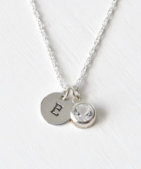Sterling Silver Initial Necklace with April Birthstone  - product images 1 of 8
