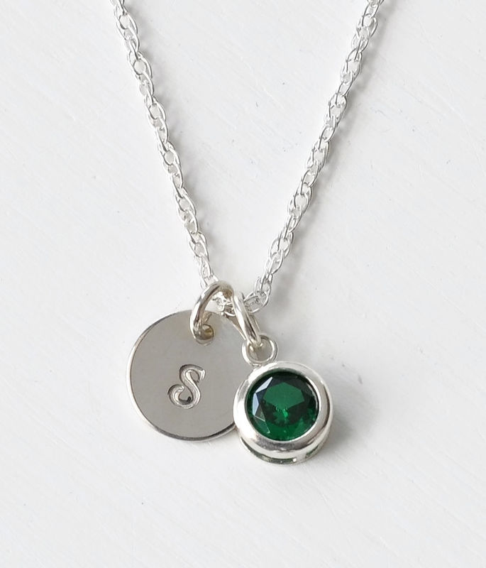 Sterling Silver Initial Necklace with May Birthstone  - product image