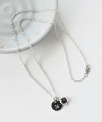 Sterling Silver Initial Necklace with June Birthstone Imitation Alexandrite - product images 5 of 8