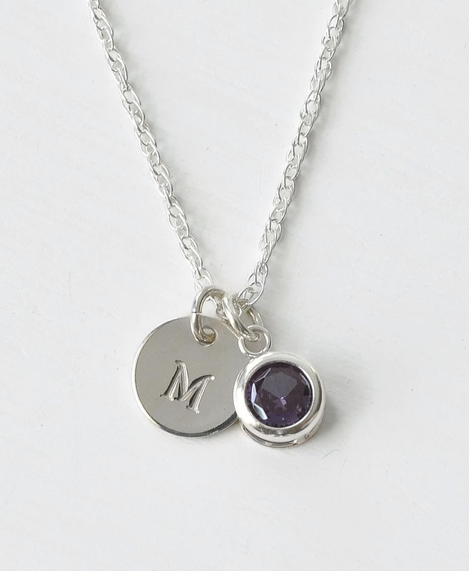 Sterling Silver Initial Necklace with June Birthstone Imitation Alexandrite - product image