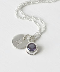 Sterling Silver Initial Necklace with June Birthstone Imitation Alexandrite - product images 1 of 8