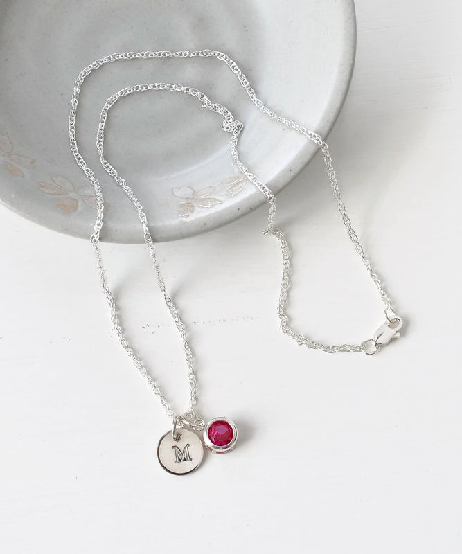 Sterling Silver Initial Necklace with July Birthstone  - product image
