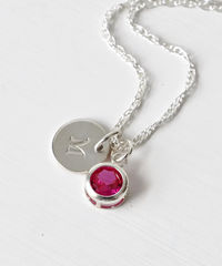 Sterling Silver Initial Necklace with July Birthstone  - product images 2 of 8