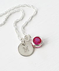 Sterling Silver Initial Necklace with July Birthstone  - product images  of