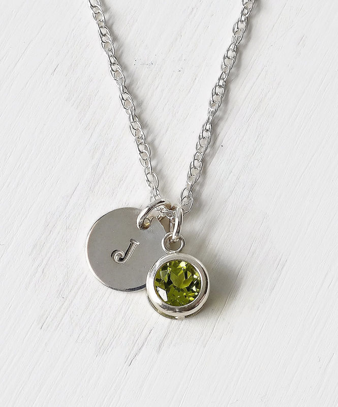 Sterling Silver Initial Necklace with August Birthstone Peridot - product image