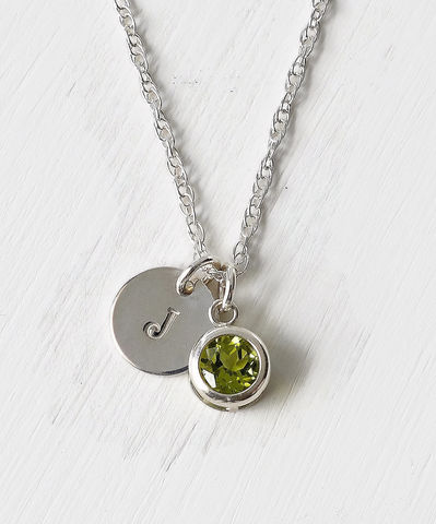 Sterling,Silver,Initial,Necklace,with,August,Birthstone,Peridot,sterling silver initial necklace with august birthstone peridot