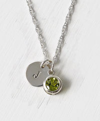 Sterling Silver Initial Necklace with August Birthstone Peridot - product images 1 of 8