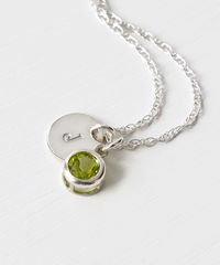 Sterling Silver Initial Necklace with August Birthstone Peridot - product images 2 of 8