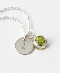 Sterling Silver Initial Necklace with August Birthstone Peridot - product images 3 of 8