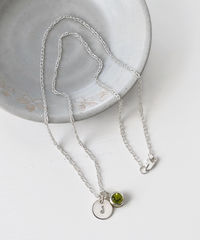 Sterling Silver Initial Necklace with August Birthstone Peridot - product images 4 of 8