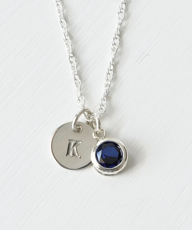 Sterling Silver Initial Necklace with September Birthstone  - product image