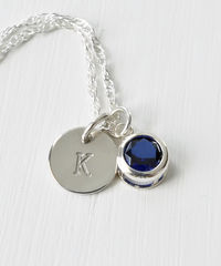 Sterling Silver Initial Necklace with September Birthstone  - product images 3 of 8