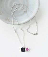 Sterling Silver Initial Necklace with October Birthstone  - product images 5 of 8