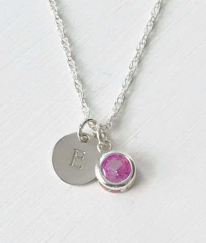 Sterling,Silver,Initial,Necklace,with,October,Birthstone,sterling silver initial necklace with october birthstone