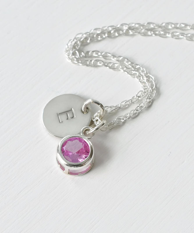 Sterling Silver Initial Necklace with October Birthstone  - product image
