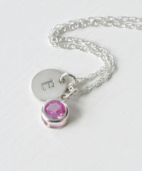 Sterling Silver Initial Necklace with October Birthstone  - product images 3 of 8