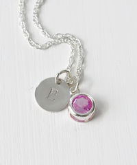 Sterling Silver Initial Necklace with October Birthstone  - product images 2 of 8