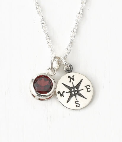 Sterling,Silver,Compass,Necklace,with,January,Birthstone,Garnet,compass necklace sterling silver, compass necklace with birthstone