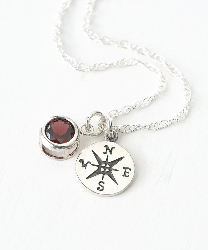 Sterling Silver Compass Necklace with January Birthstone Garnet - product image