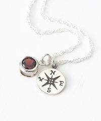 Sterling Silver Compass Necklace with January Birthstone Garnet - product images  of