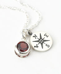 Sterling Silver Compass Necklace with January Birthstone Garnet - product images 3 of 6