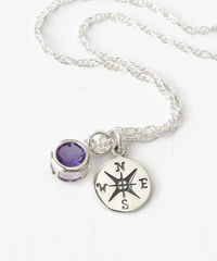Sterling Silver Compass Necklace with February Birthstone Amethyst - product images 2 of 6