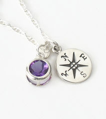 Sterling Silver Compass Necklace with February Birthstone Amethyst - product images 3 of 6