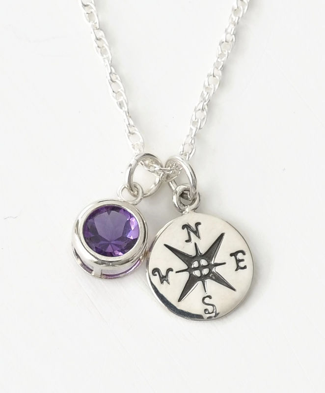 Sterling Silver Compass Necklace with February Birthstone Amethyst - product image