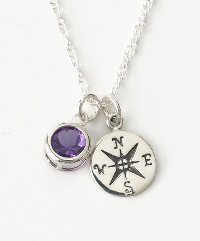 Sterling,Silver,Compass,Necklace,with,February,Birthstone,Amethyst,compass necklace sterling silver, compass necklace with birthstone