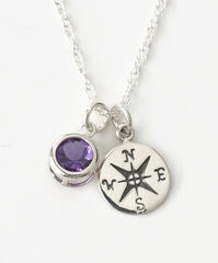 Sterling Silver Compass Necklace with February Birthstone Amethyst - product images 1 of 6