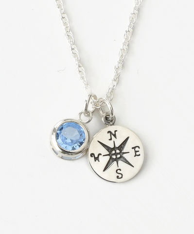 Sterling,Silver,Compass,Necklace,with,March,Birthstone,compass necklace sterling silver, compass necklace with birthstone