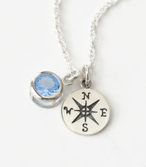 Sterling Silver Compass Necklace with March Birthstone  - product images 2 of 5