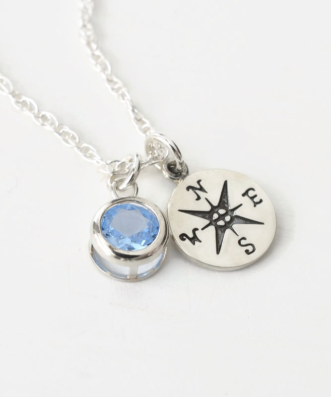 Sterling Silver Compass Necklace with March Birthstone  - product image